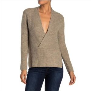 NWT Current Air brown, gray v neck sweater